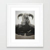 skyrim Framed Art Prints featuring Dragonborn - Skyrim by Edward J. Moran II