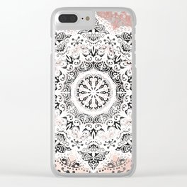 Dreamer Mandala White On Rose Gold Clear iPhone Case