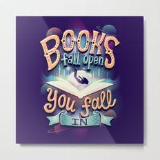 Books fall open you fall in Metal Print