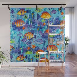 Underwater cartoon cute pattern Wall Mural