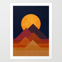 mountain Art Prints featuring Full moon and pyramid by Picomodi
