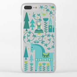 Fairytale Illustration in Blue Clear iPhone Case