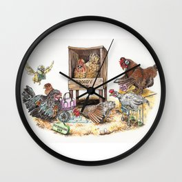 """Life in the Coop"" funny chicken watercolor Wall Clock"