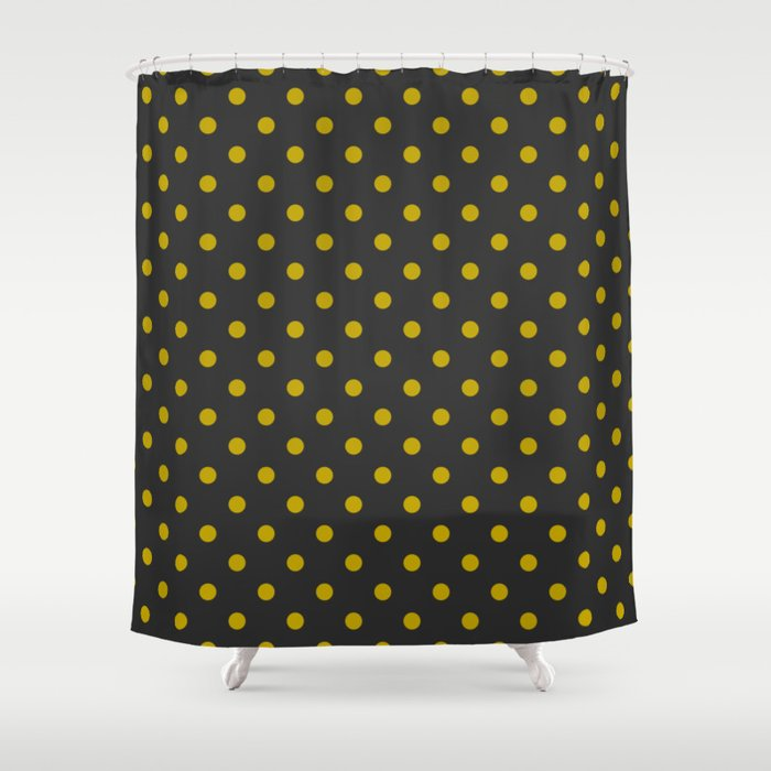 Black And Gold Polka Dots Shower Curtain By Arrivelikebutterflies