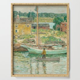 Oyster Sloop, Cos Cob 1902 by Childe Hassam Serving Tray