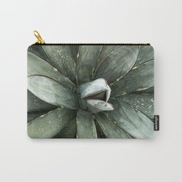 Cactus Decor // Dusty Blue Green Succulent Leaves Desert Square Photograph Carry-All Pouch