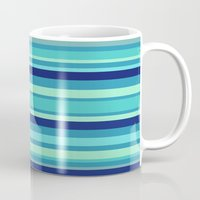 preppy Mugs featuring Preppy Stripes - Aqua Blues by Sweet Karalina