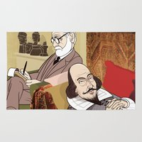 freud Area & Throw Rugs featuring Freud analysing Shakespeare by drawgood