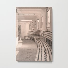 Inside Cowes Floating Bridge In Sepia Metal Print