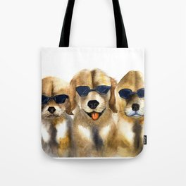 Yellow dogs  in funny glasses Tote Bag