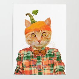 Orange Pumpkin Cat // Fall Decor Poster