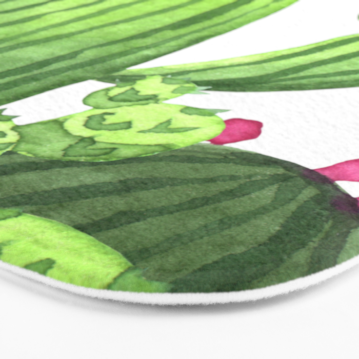 Green Cacti with Pink Flowers Bath Mat