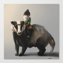 Gnome on Badger Canvas Print