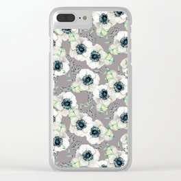 Soothing Rose Garden Gray + White Navy Clear iPhone Case