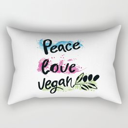 Peace love vegan Rectangular Pillow