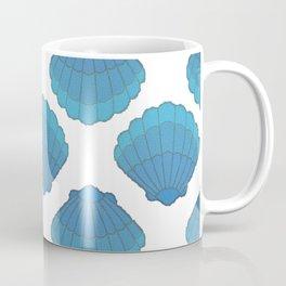 Blue Seashell Mosaic Pattern Coffee Mug