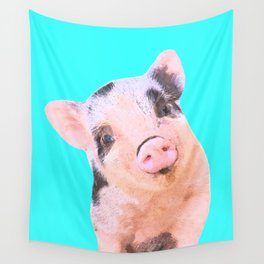 Baby Pig Turquoise Background Wall Tapestry