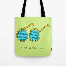 Nice to Sea You Retro Shades Green Tote Bag