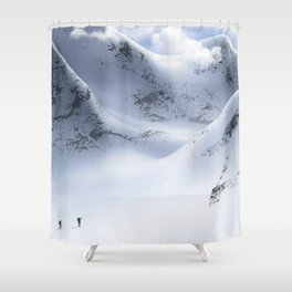 Minimal Snow Mountain Landscape Hiking 13 Shower Curtain