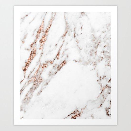 Rose gold foil marble Art Print