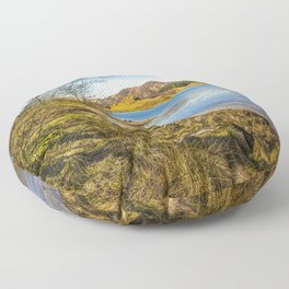 The shores of Loch Earn Floor Pillow