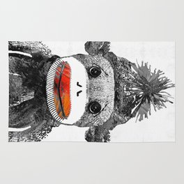 Sock Monkey Art In Black White And Red - By Sharon Cummings Rug