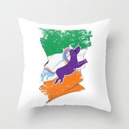 Distressed Irish Flag St Patricks Unicorn Throw Pillow