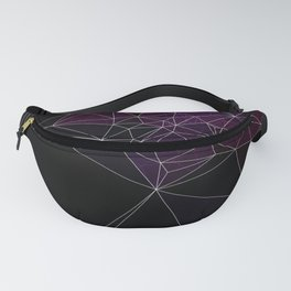 Polygonal purple, black and white Fanny Pack