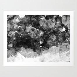 Amethyst Black and White Art Print