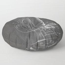 Microscope Patent - Scientist Art - Black Chalkboard Floor Pillow