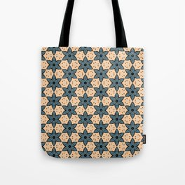 Blue Flower Kaleidoscope Pattern on Beige Background Tote Bag