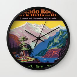 Vintage poster - Colorado Rocky Mountains Wall Clock