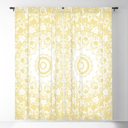 White Lace Mandala on Sunshine Yellow Background Blackout Curtain