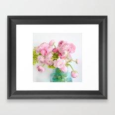 Dreamy Shabby Chic Ranunculus Peonies Roses Print - Spring Summer Garden Flowers Mason Jar Framed Art Print