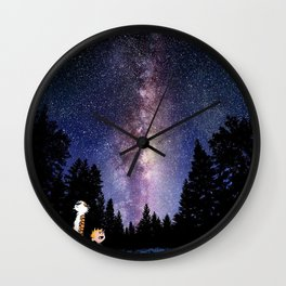calvin and hobbes in the night large Wall Clock