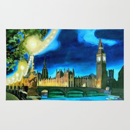 Houses of Parliament and Big Ben at Night Rug