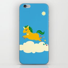 The golden unicorn of glitter poo iPhone Skin