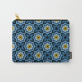 V6 Blue Traditional Moroccan Natural Leather - A4 Carry-All Pouch