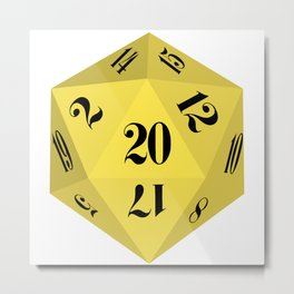 Yellow 20-Sided Dice Metal Print