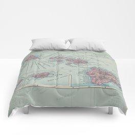 Map of Hawaii Comforters