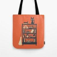 ghibli Tote Bags featuring Ghibli Shelf // Miyazaki by Daniel Mackey