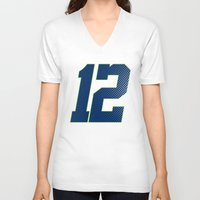 seahawks V-neck T-shirts featuring 12 SEATTLE by FanCity