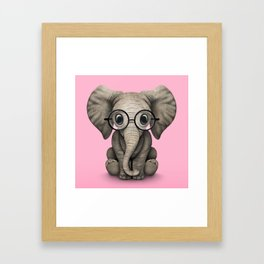 Cute Baby Elephant Calf with Reading Glasses on Pink Framed Art Print