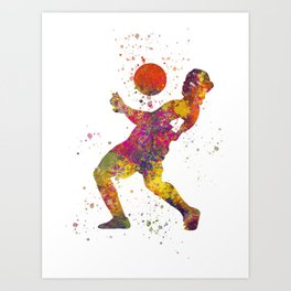 Soccer player isolated 08 in watercolor Art Print