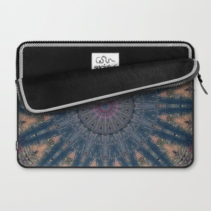 Delicate Navy Blue Bohemian Mandala Laptop Sleeve