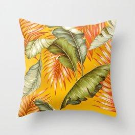 HAWAIIAN GARDEN TROPICAL LEAVES   golden yellow orange Throw Pillow