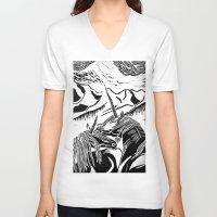 unicorns V-neck T-shirts featuring Unicorns by Lily Livingston