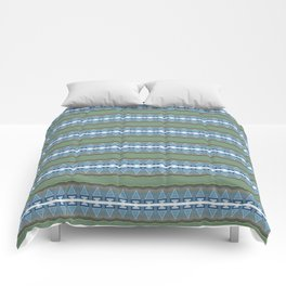 Periwinkle, Moss Green and Pastel Indigo Neo Tribal Micro Pattern Comforters