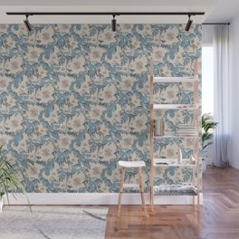 Water Swingers in Cream ( leafy sea dragon in blue and cream ) Wall Mural