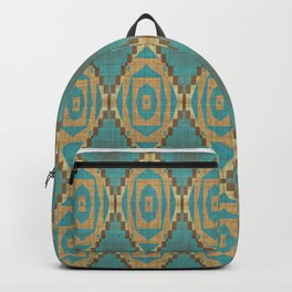 Teal Turquoise Caramel Coffee Brown Rustic Native American Indian Cabin Mosaic Pattern Backpack